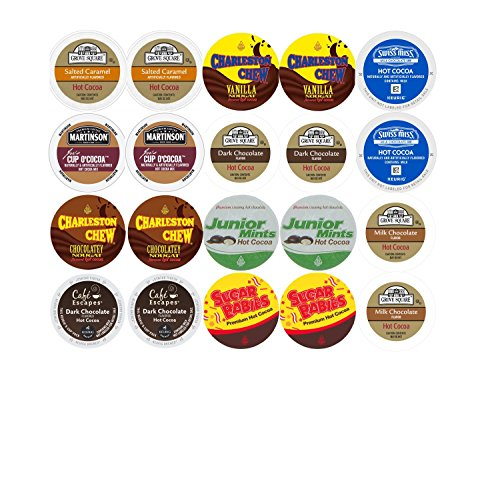 Ultimate Hot Chocolate K-Cup Variety Sampler 10 Different Varieties Of Hot Cocoa Single Serve K-Cups (20 Count) Featuring Swiss Miss, Cafe Escapes Junior Mints, Sugar Babies Grove Square & More!