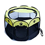 Pet Foldable Tent Playpen Portable Dog Fence Kennel Cage Crate Exercise Removable 8-Panel Kennel Mesh Shade Cover Indoor/Outdoor For Puppy Cats And Animals (Yellow)