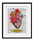 """Heart With Flowers """"Love"""" 11x14 Inch Reproduction Vintage Review and Comparison"""