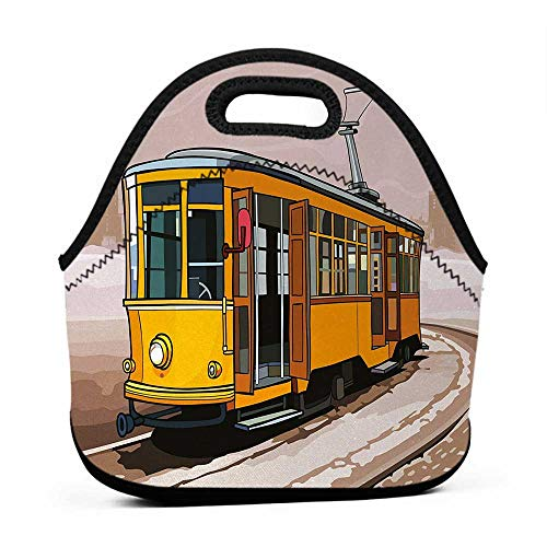 (Travel Case Lunchbox with Zip Modern,Yellow Train on Rail Roads Winter Scenery Old Suburban Illustration,Yellow and Light Brown,fabric lunch bag for kids)