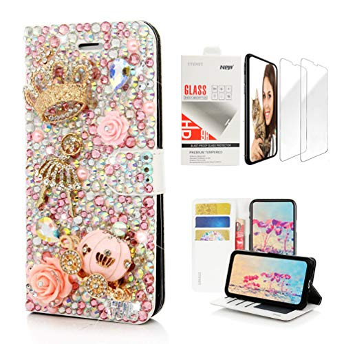 STENES Bling Wallet Case Compatible with iPhone X/iPhone Xs - 3D Handmade Crown Ballet Pretty Girl Pumpkin Car Flowers Design Leather Case with Wrist Strap & Screen Protector [2 Pack] - Pink
