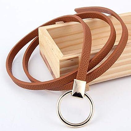 83d1aec9e Amazon.com: LoLa Ling Women's Belt Knot Waistband Gold Circle Buckle ...