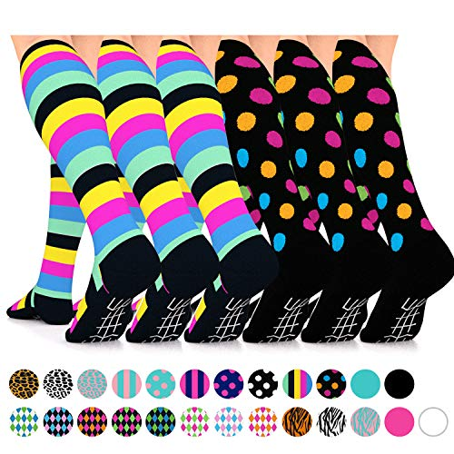 Go2Socks Compression Socks for Women Men Nurses Runners 15-20 mmHg (Medium) - Medical Stocking Maternity Travel - Best Performance Recovery Circulation Stamina (6 Multistripe & Polka Dot, Medium) ()