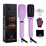 MEXITOP Ionic Hair Straightener Crescent Brush Comb,MCH Ceramic Heating, LED Display, Adjustable Temperatures, Anti Scald Hair Straightening for All Hair Types/4 Bonus Included/Matt Purple
