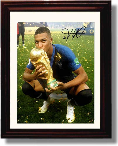 (Framed Kylian Mbappe - France World Cup 2018 Trophy - Autograph Replica Print)