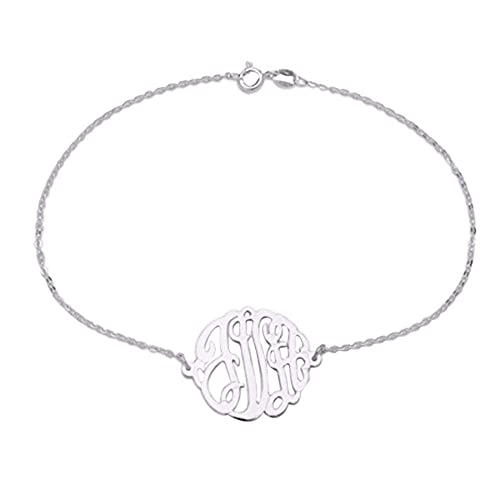 Personalize Sterling Silver Gold Plated Silver Monogram Custom Charm Bracelet Anklet