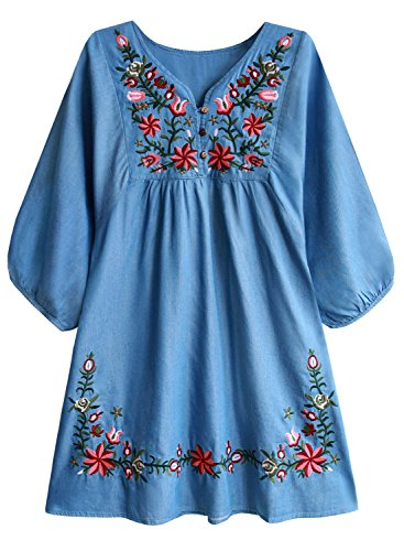 Doballa Women's Floral Embroidery Mexican Tunic Top Bohemian Flowy Shift Mini Blouse Dress
