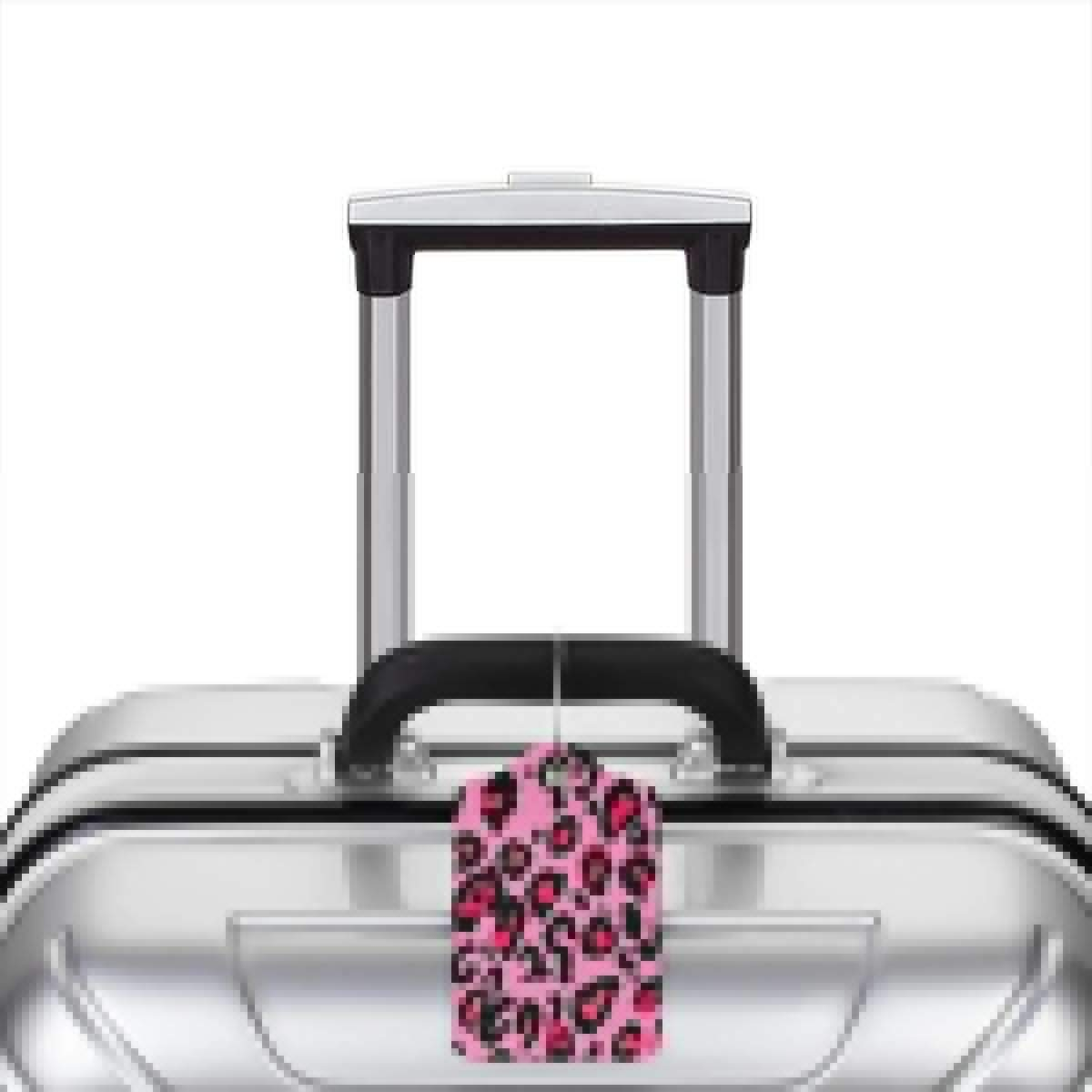 Cheetah Lignt Pink Leopard Luggage Tag Label Travel Bag Label With Privacy Cover Luggage Tag Leather Personalized Suitcase Tag Travel Accessories