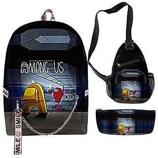 Among Us Backpack, Among Us Shoulder Bag, Among Us Pen Case - Set 3 Among Us Waterproof Fashionable Bags for Girl, Teens, Women Style 20
