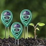 Soil PH Meter 3 Pack, Heggy 3-in-1 Soil Moisture Tester Kits, Light & pH Acidity Plant Tester for Indoor & Outdoor Plants, PH Meter for Soil (No Battery Needed)
