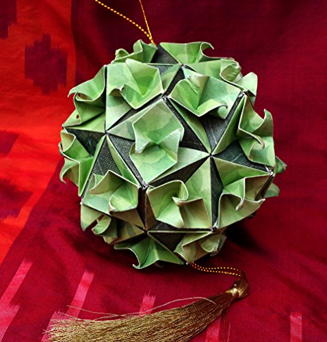Hand Folded Paper Origami Flower Ball Christmas Ornament Car Charm, Light Green w/ Dark Sage Green (Christmas Kusudama Flowers)