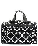 Handbag Inc Geometric Print Canvas Lightweight 20'' Duffel Overnight Bag Black