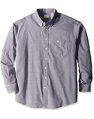 Men's Big-Tall Long Sleeve Button Down Collar Micro-Check Shirt