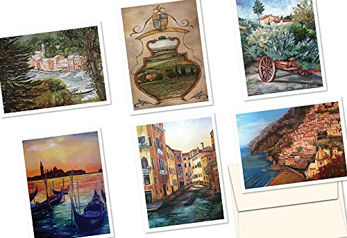 72 Note Cards - Painted Italian Landscapes - 6 Designs - Blank Cards - Ivory Envelopes Included