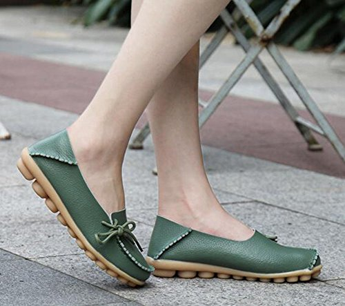 CHFSO Womens Comfortable Solid Side Lace Up Round Toe Low Top Slip-resistant Work Flats Green MQD5S9pO