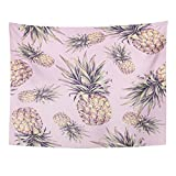 VaryHome Tapestry Green Beach Pineapple on Pink Watercolor Colourful Tropical Fruit Summer Yellow Organic Home Decor Wall Hanging for Living Room Bedroom Dorm 60x80 Inches