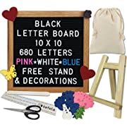 Black Felt Letter Board 10x10 - Stand, Decorations, Bag, Scissors, File, Guide - Vintage Oak Frame & 680 Changeable Pink Blue White Letters - for Announcements, Gift, Photo Prop, Quotes, Toy, etc.