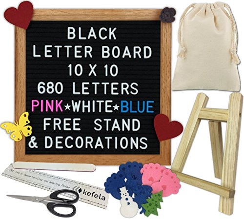 (Black Felt Letter Board 10x10 - Stand, Decorations, Bag, Scissors, File, Guide - Vintage Oak Frame & 680 Changeable Pink Blue White Letters - for Announcements, Gift, Photo Prop, Quotes, Toy, etc.)