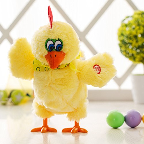 - elegantstunning Funny Doll Electric Chicken Hens Lay Eggs Crazy Singing Dancing Plush Toys Gifts for Children Christmas