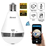 JBonest 1080P Light Bulb WiFi Panoramic Camera with IR Motion Detection, Night Vision, Two-Way Audio, Cloud Service for Home, Office