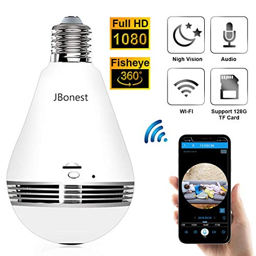 JBonest 1080P WiFi Camera Light Bulb Panoramic Camera with IR Motion Detection, Night Vision, Two-Way Audio, Cloud Service for Home, Office, Baby, Pet Monitor