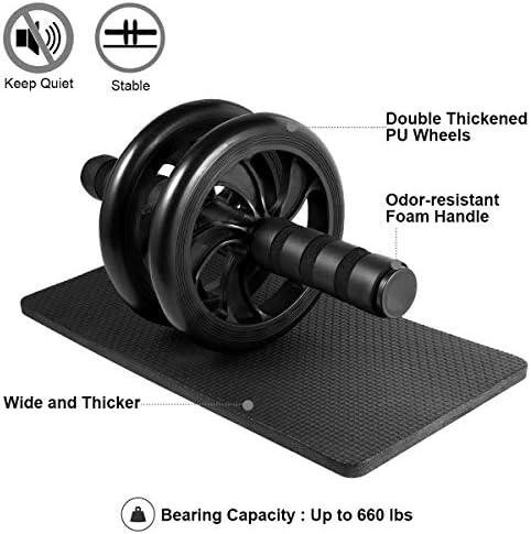LYCAON Juego de rodillos de rueda Ab 4 en 1 incluye rodillo de rueda Ab, barra de empuje, cuerda de saltar y rodillera, kit de rueda de rodillo para perder peso, fitness, ejercicio músculos abdominales, ejercicio en casa, gimnasio 5