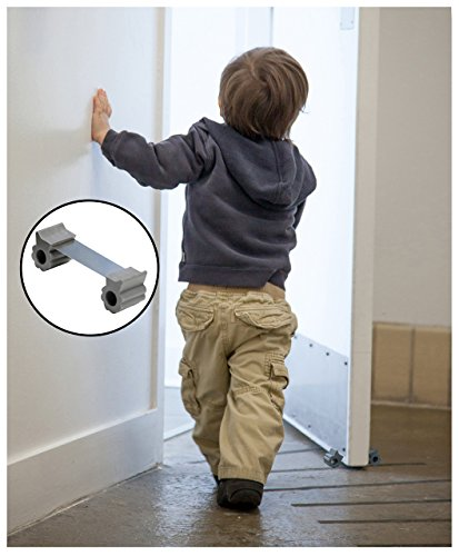 Door Stopper - Revolutionary New Design Stops Movement Forward and Backward - Holds Doors Securely in Place - Ideal for Pet And Child Safety Interior and Exterior Doors - 2 Door Stops Per Pack - Grey by GTP (Image #2)
