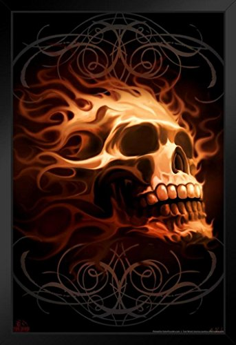 ProFrames Flaming Skull Tom Wood Fantasy Art Framed Poster