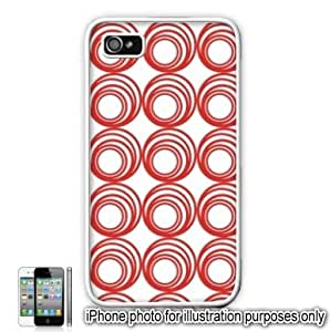 Red Circle Swirls Pattern Apple iPhone 4 4S Case Cover Skin White