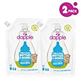 Dapple Baby Bottle and Dish Liquid Refill, Fragrance Free Liquid Soap, Baby Dish Soap, Baby Dish Liquid, Bottle and Dish Liquid Cleaner, Plant-Based Formula, 34 Fluid Ounces (Pack of 2)