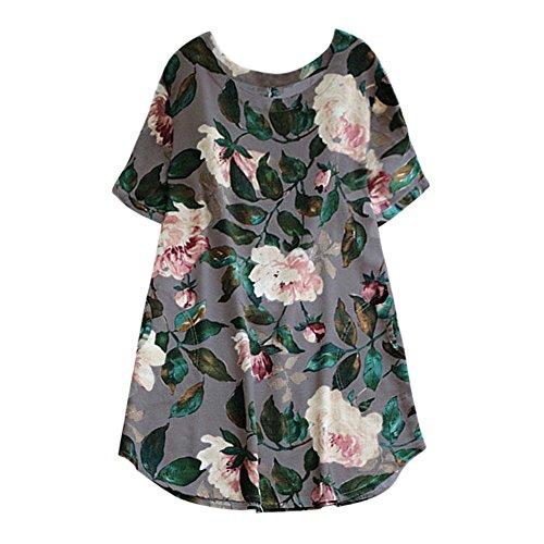 iLUGU Turtleneck Short Sleeve Mini Dress for Women Floral Print Long Blouse Long Black Dress