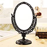 ToiM European Style Portable Mirror Dressing Table Mirror Swivel Vanity Mirror, Vintage Retro Double Sided Dressing Mirror for Dresser (Black)