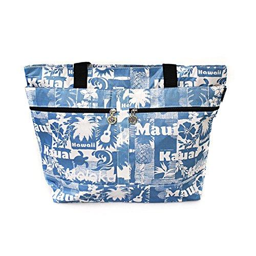 (Hawaiian Print Double Zipper Tote Bag in Vintage Print Pineapple Ukulele Turtle Palms in)