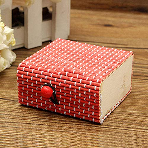 LIAOYLY High-end Gift Ring Necklace Earrings Bamboo Wooden Case Jewelry Storage Boxes Holder Gift,Red