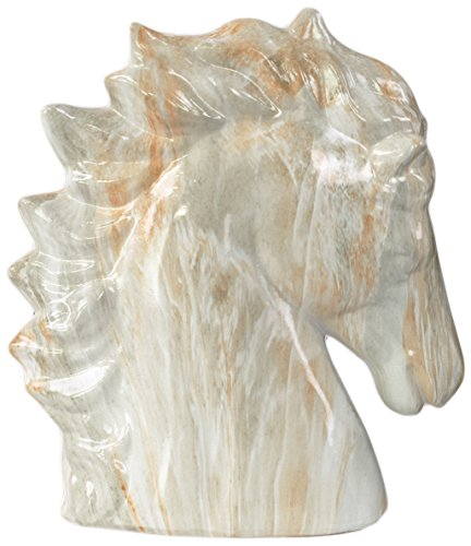 Urban Trends Ceramic Horse Head Marbleized with Gray Streaks, Small, Gloss Cream