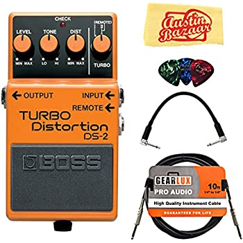 Boss DS-2 Turbo Distortion Guitar Effects Pedal Bundle with Gearlux Instrument Cable, Patch Cable, Picks, and Polishing Cloth