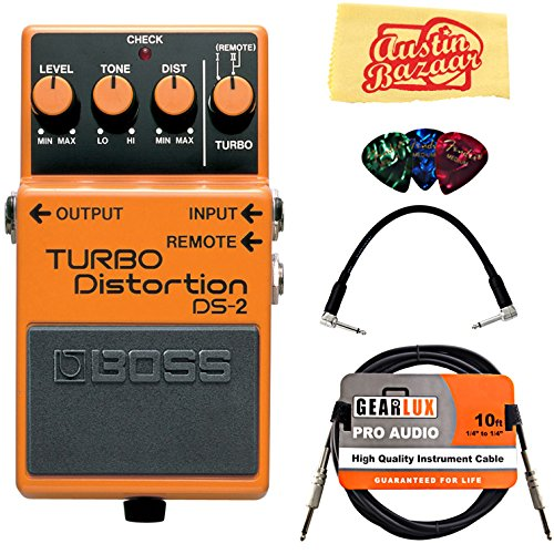Guitar Boss Cables (Boss DS-2 Turbo Distortion Bundle with Instrument Cable, Patch Cable, Picks, and Austin Bazaar Polishing Cloth)