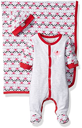 Coccoli Baby Girls' Flower Print Jersey Knit Cotton Footie Cap Blanket Set, Heather Grey/Begonia, - Petites Dressing Knit