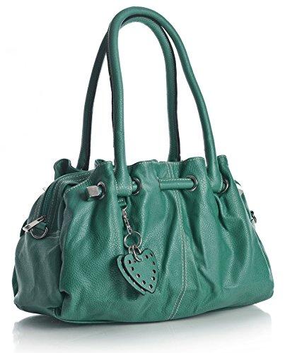 Big Handbag Shop, Borsa a spalla donna One Blu (Teal Blue)