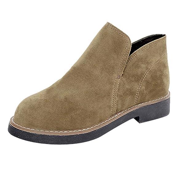 Logobeing Botines Mujer Planos Slip-On Gamuza Punta Redonda Zapatos de Plataforma Botas de Mujer Zapatos de Mujer Altas Boots(35,Caqui): Amazon.es: Equipaje