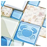 New Idea Tile Kitchen Bath Backsplash Accent Wall Decor TST Glass Metal Tile Marine Animals Icon Beach Style Inner Conch Sea Blue Mosaic Tiles TSTNB11 (1 Sample 6x6 Inches)