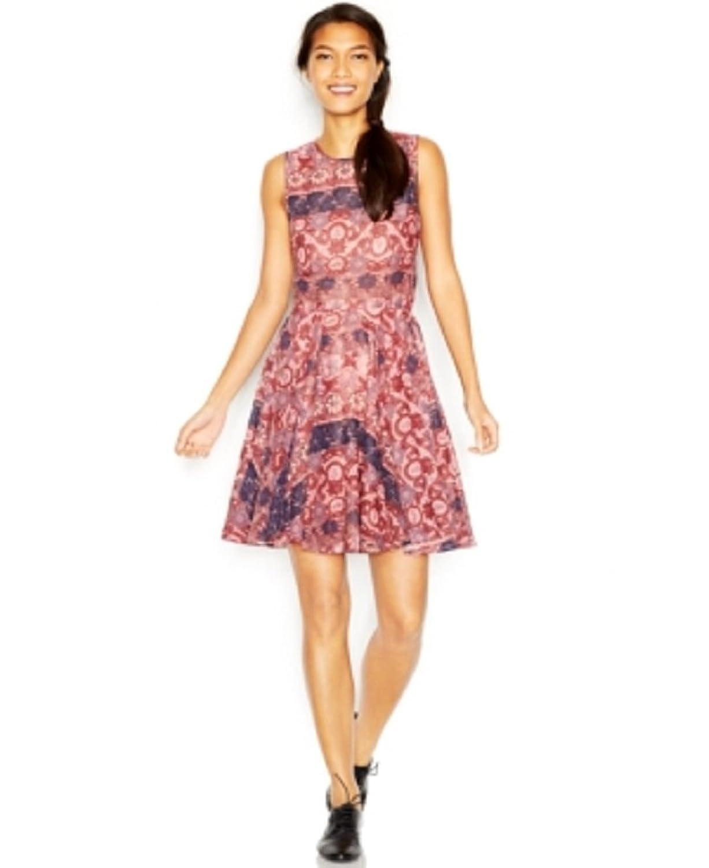 Maison Jules Sleeveless Crew-Neck Printed Flared Dress, Lotus combo, Medium