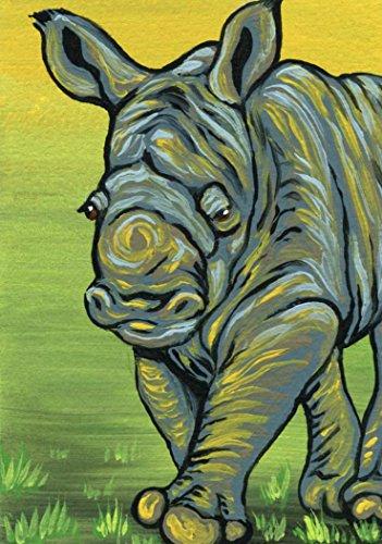Original Miniature Painting -Free Shipping-OOAK Baby Rhinoceros Wildlife African Animal Art-Carla Smale