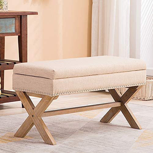 Fabric Living Room Bed - Fabric Upholstered Storage Entryway Bench, 36 inch Bedroom Bench Seat with X-Shaped Wood Legs for Living Room, Foyer or Hallway by Chairus - Beige