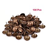 Sydien 100 Pcs Decorative Nails For Furniture Domed Metal Round Upholstery Nails Antique Thumb Tack Furniture Tacks Copper Tone (14mmx17mm)