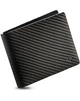 EGNT Minimalist RFID Wallet for Men Carbon Genuine Leather Black ID Slim Credit Card Holder Minimalist