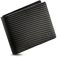 EGNT Genuine Leather Mens RFID Carbon Black ID Wallet Slim Credit Card Holder Minimalist