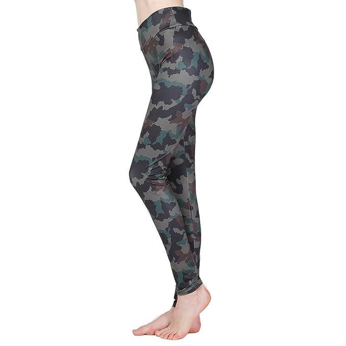 Mujer Camuflaje estampada yoga pantalones deportivos, Yannerr ...
