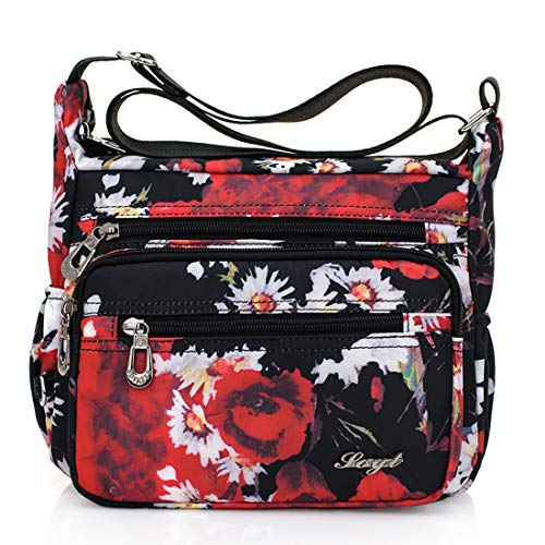 - Womens Nylon Floral Shoulder Bag Crossbody Bag Messenger Bags Travel Handbags With Adjustable Strap Waterproof (red flower)