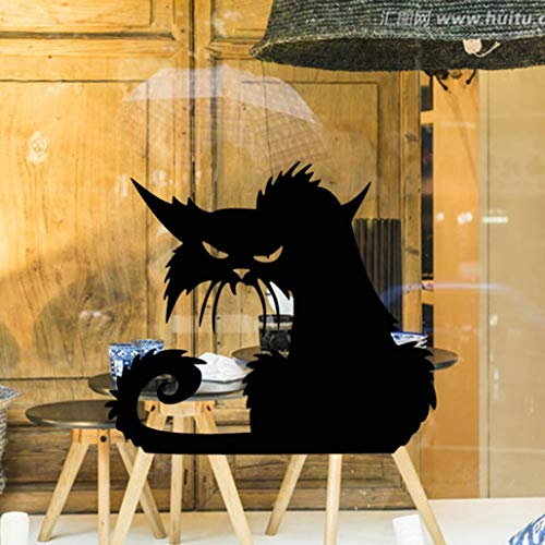 JJLOVER ❤ Fashion Vinyl Removable 4D Wall Stickers Halloween Black Cats Decor Decals Wallpaper Walls Decal ()